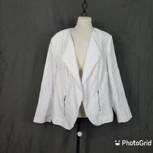 Lane Bryant Womens White Eyelet Open Front Zippered Pockets Jacket Size 28 NWT