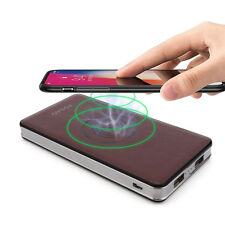 10000mah Power Bank Qi Wireless Charging Backup Battery Charger for iPhone X 8 Brown