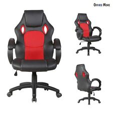 Race Car Style Office Chair Bucket Seat High Back Executive Swivel PU Leather