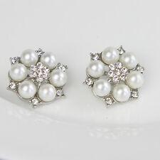 5 Stück Perlen Knöpfe Hübsch Klarglas Strass knopf Silber Legierung Imitation
