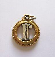 Brighton Monogram  Charm--Letter I -circular-crystals- gold & silver color