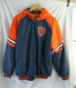 Vintage 90's G-lll apparel NFL Chicago Bears Puffer Jacket Hoodie L Embroidery