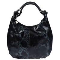 Studiomoda Italian Made Black Patent Leather Snakeskin Embossed Hobo Bag
