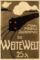 German Train Vintage Illustrated Travel Poster Print   Framed Canvas