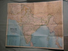 SOUTH ASIA MAP INDIA PAKISTAN AFGHANISTAN BURMA NEPAL National Geographic 1984
