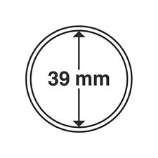 Capsules rondes 39mm, pour pièces de monnaie. Paquet de 10.