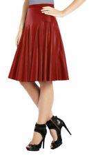 Sexy Women's Genuine Lambskin 100% Leather Skirt Red Knee Length Stylish Flare