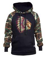New Men's Lion Indian Headdress Camo/Black Raglan Hoodie Native American Spirit