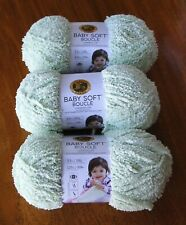 "Lion Brand ""Baby Soft Boucle"" Yarn Lot Of 3 Skeins Sprout 3.5 oz. Darling!"