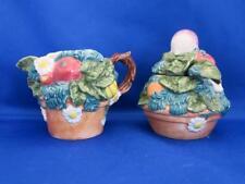 Fitz & Floyd Classics Creamer & Sugar Bowl Set Flower Pot Fruit Daisies Veggies