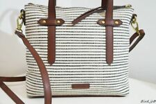 FOSSIL BEIGE BROWN LEATHER TRIM HANDBAG TOTE SHOULDER CROSS BODY MULTIWAY BAG