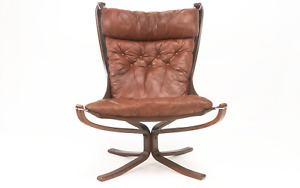Falcon Leather Lounge Chair By Sigurd Ressell Mid Century, 1970s