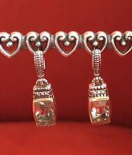 JUDITH RIPKA PRASIOLITE GREEN AMETHYST DIAMOND DROP EARRINGS