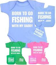 Baby Clothes Boys Girls FISHING With Daddy Vest Hat & Bib Set Funny Shower Gifts