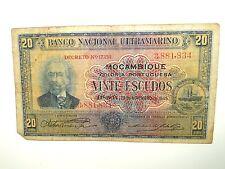1945 BANCO NACIONAL ULTRAMARINO MOCAMBIQUE VINTE ESCUDOS BANKNOTE