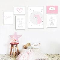 Unicorn Cartoon Wall Art Canvas Poster Nursery Print Painting Baby Bedroom Decor