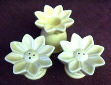 GOLD DAISY SALT AND PEPPER SHAKERS WITH A MATCHING CANDLE HOLDER - NEW
