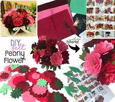 Peony Flower Potted Felt Applique Kits Felt Hobby Craft Project DIY