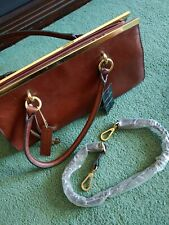 Wilson's Leather Roma Chestnut Brown Leather Bag Purse $360 Value
