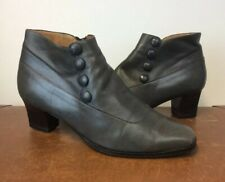 Vintage grey Leather victoriana steampunk edwardian  goth Ankle boots 38.5  5.5