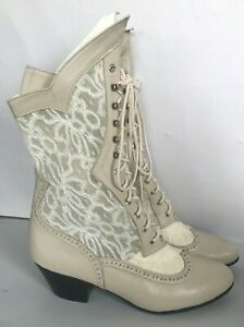 Ivory Leather and Lace Western Victorian, Handmade Soft Leather Boots, 8 1/2