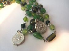 VTG VENETIAN ITALIAN MURANO GLASS AND COIN NECKLACE...LONG STRAND 44 IN.