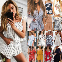 Womens Holiday V Backless Mini Playsuit Jumpsuit Summer Floral Beach Dress Lot