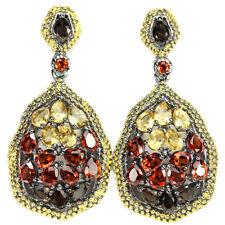 Große Ohrringe Granat Citrin Rauchquarz 925 Silber 585 Gelbgold vergoldet
