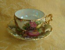 Royal Sealy China Porcelain Cup & Saucer ~ Pierced Fruit Pattern Lusterware