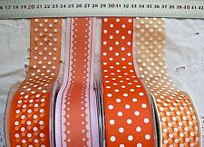 ORANGE & WHITE Grosgrain & Sheer 38mm Wide-2 or 3 Metres - 4 Design Style Choice