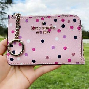 Kate Spade Staci Medium L-Zip Card Holder Festive Confetti Glitter Dots Pink