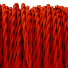 RED TWO (2) CORE TWIST vintage style textile fabric electrical cord cloth 1m.