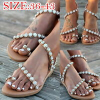Women Bohemia Rhinestone Bling Sandals Beach Flip Flops Slingback Flats Shoes