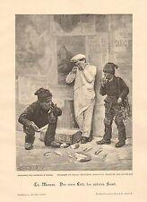 Chimney Sweeps, Bakery Boy Drops Bread Basket, Vintage 1899 German Antique Print