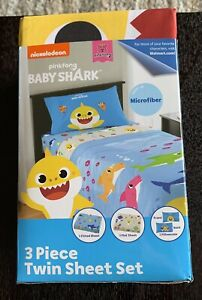 BRAND NEW Baby Shark Kids Bedding Twin Sheet 3pc Bed Set Reversible Pillowcase