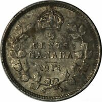 1914 Canada Five Cents Silver-Very Nice High Grade Circ Collector Coin!-d594sut2