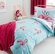 Vente Bright Flamingo Polka Dot Housse De Couette Double Aqua Rose Teen Literie chambre