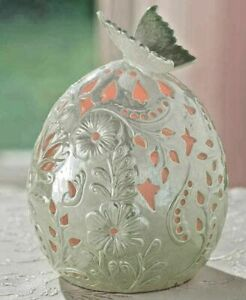 Lighted Porcelain Egg w/ Butterfly on top-Timer-LED color -Collectable-Mint