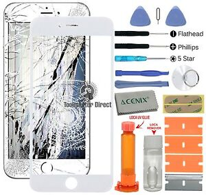 APPLE IPHONE 6 PLUS (5.5 INCHES) Front glass screen replacement repair kit WHITE