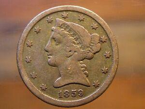 1859 D $5 Gold Liberty Half Eagle - Dahlonega, Medium D
