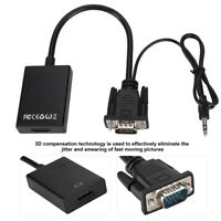 VGA Male To HDM Output 1080P HD+Audio TV AV HDTV Video Cable Converter Adapter T