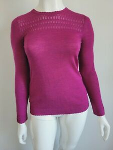 Cynthia Rowley Extra fine Merino Wool Purple Sweater - Size Medium