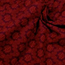 Unusual Dark Red Tone-on-Tone Floral, Cotton Fabric by Cranston, Per 1/2 Yd