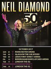 "Neil Diamond 2017 Tour 16"" x 12"" Photo Repro Concert Poster"
