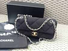 AUTHENTIC Chanel BLACK Quilted JERSEY FABRIC & LEATHER Single Flap Bag - VGC