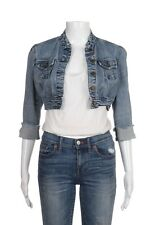 PERSONAL IDENTITY Cropped Jean Jacket Small Blue Med Wash Denim Frayed Cuffs
