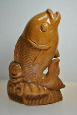 Vintage Hand Carved Detailed Wooden Fish Emerging From Wave Statue