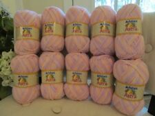 New 10 Skeins Patons Astra Yarn COTTON CANDY VARIEGATED Sport Worsted Pink...