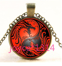Yin Yang Dragon Cabochon Bronze Glass Chain Pendant Necklace TS-4405