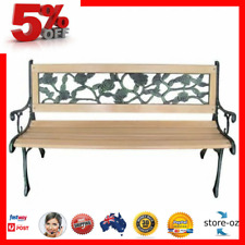 Outdoor Wrought Iron Patio Bench Seat w/ Timber Chair Park bench - Rose Backrest